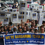 L.A. Workers Flood City Hall Streets, Protest Predatory Bank Fees, Rising Share of Health Care Costs